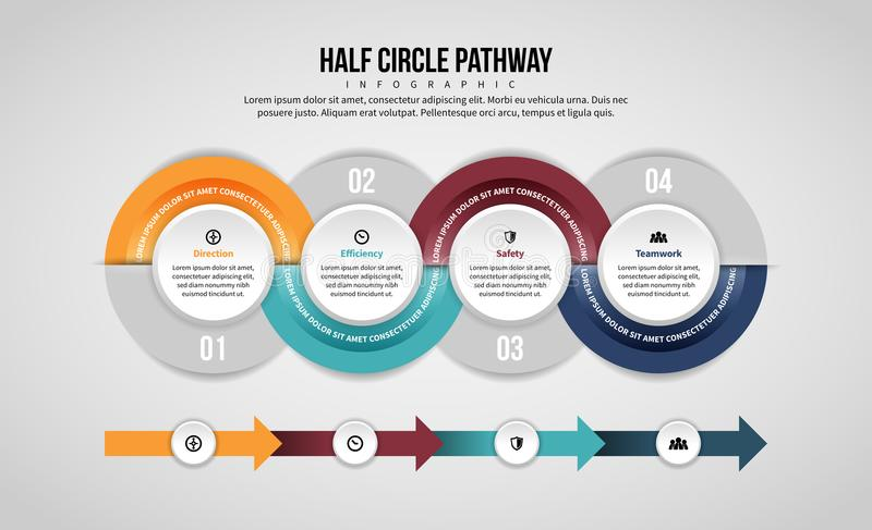 Half Circle Pathway Infographic. Vector illustration of Half Circle Pathway Infographic design element royalty free illustration
