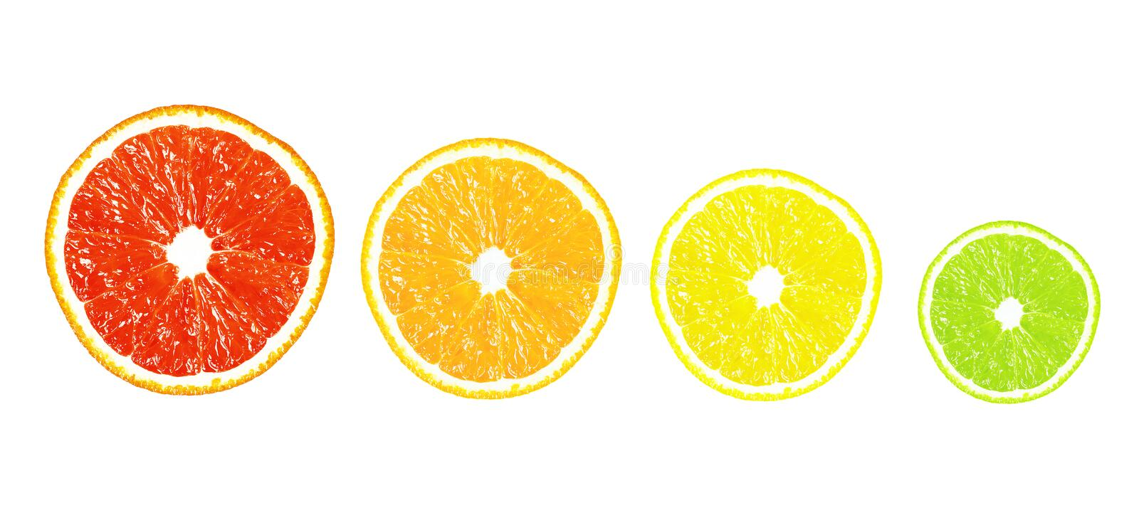 Half of citrus on a white background stock photo