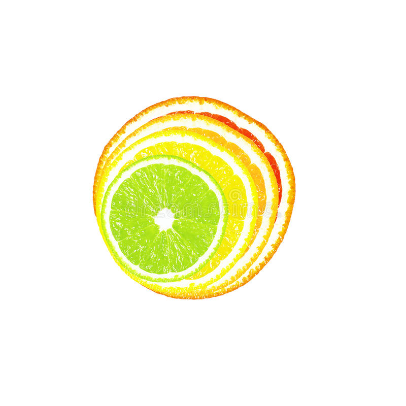 Half of citrus on a white background stock photography