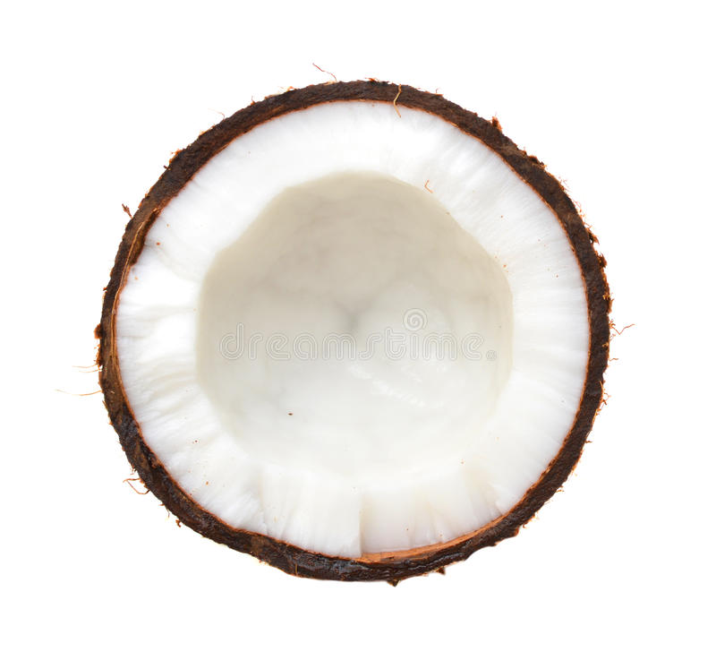 Half coconut top view i. Solated on white royalty free stock photo