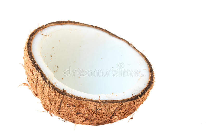 Half coconut top view isolated. On white royalty free stock photos