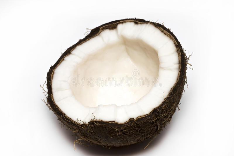 Half coconut top view isolated on white.  stock images