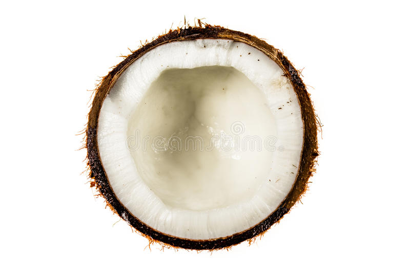 Half coconut top view isolated on white. Background royalty free stock photo