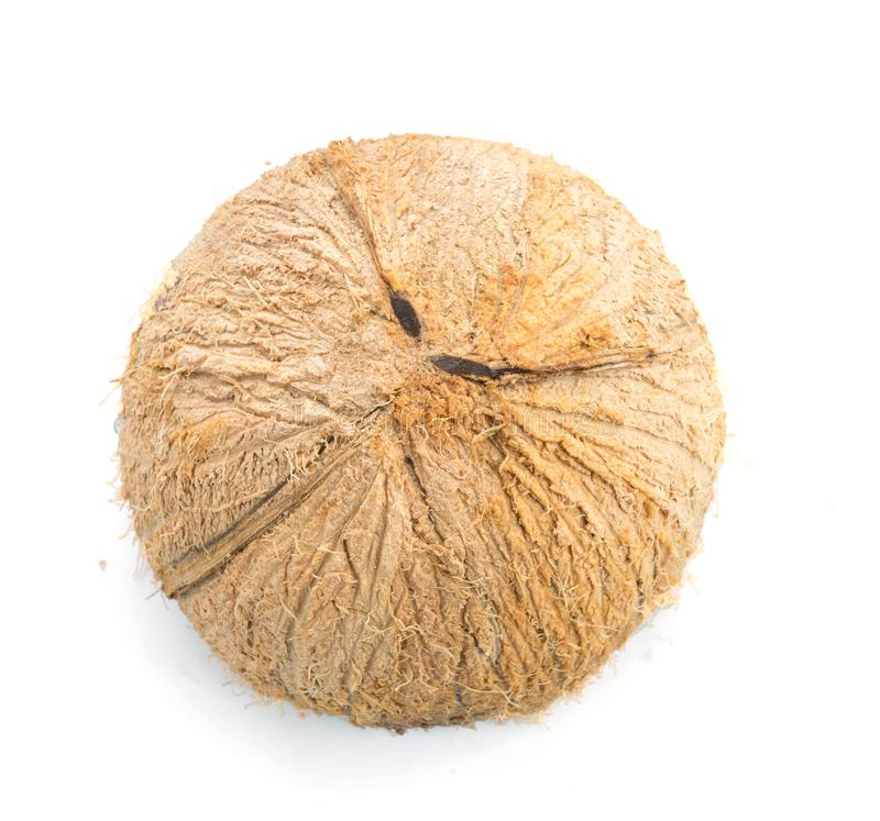 Half coconut top view isolated on white. Background royalty free stock photography