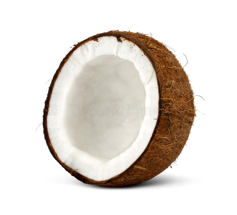 Half of coconut on white stock photos