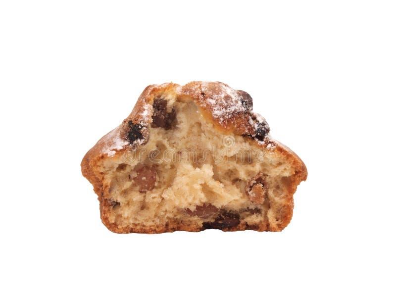 Half cupcake met rozijnen stock fotografie
