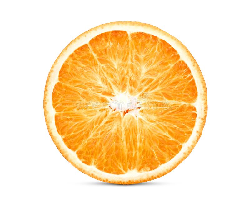 Half cut of fresh orange fruit isolated on white. Background royalty free stock image