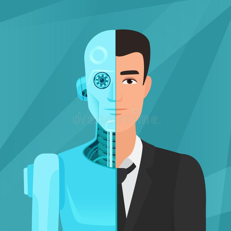 Half cyborg, half human man businessman in suit vector illustration. Half cyborg, half human man businessman in suit vector illustration royalty free illustration