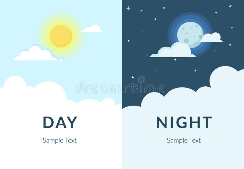 Half day night of sun and moon with clouds stock illustration