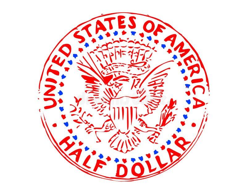 Half dollar illustration. The half dollar illustration on white royalty free illustration