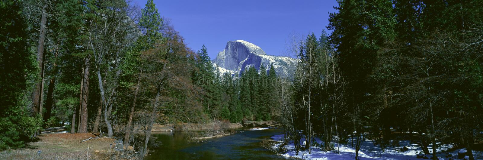 Half Dome and Merced River stock image