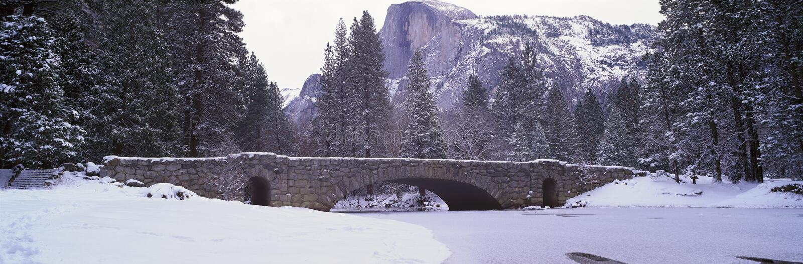 Half Dome and Merced River In Winter stock photo
