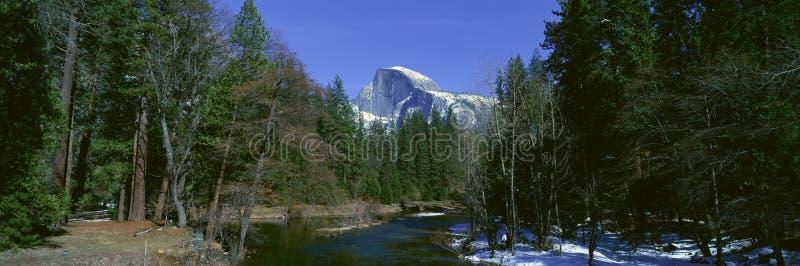 Half Dome and Merced River In Winter, Yosemite National Park, California stock image