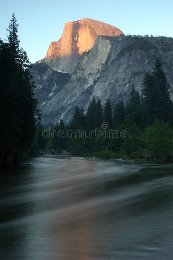 Half Dome and Merced at Sunset royalty free stock photo