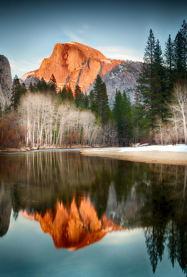Free Half Dome Reflection At Sunset Royalty Free Stock Images - 29544109