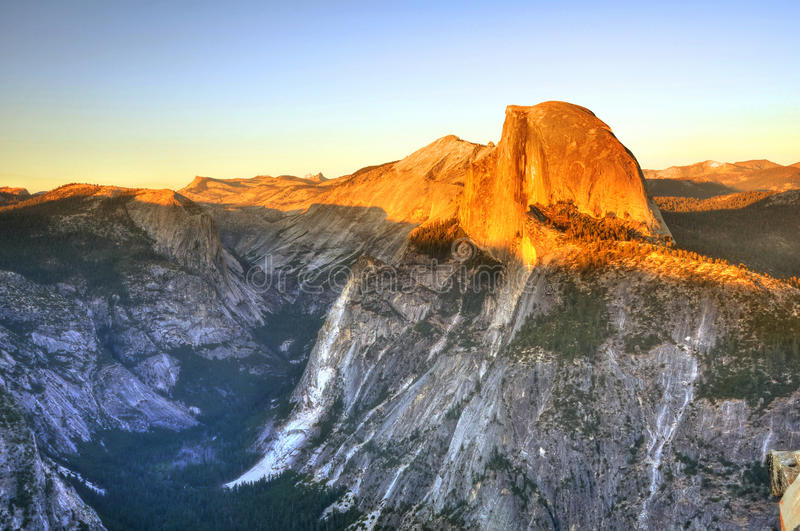 Half Dome at sunset royalty free stock images