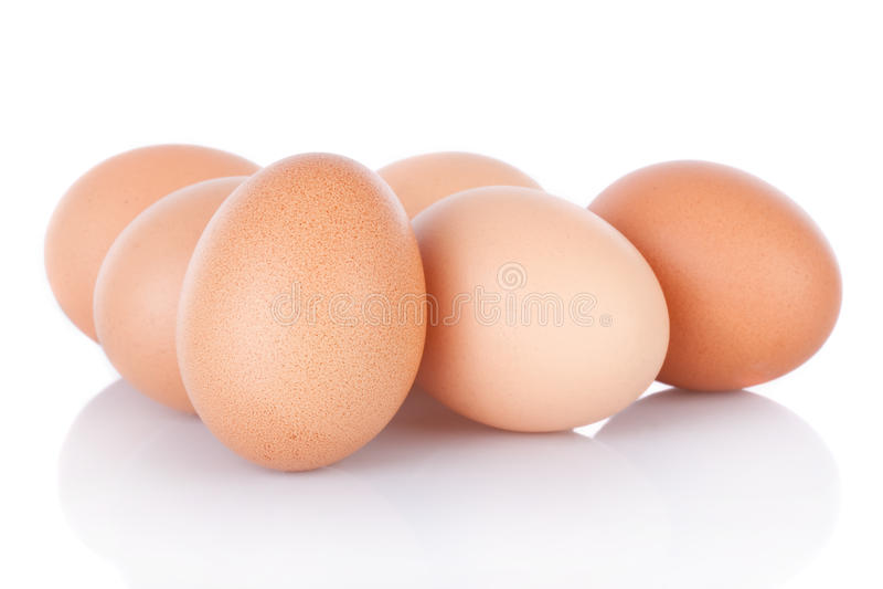 Half dozen brown chicken eggs. Isolated on white background royalty free stock photo
