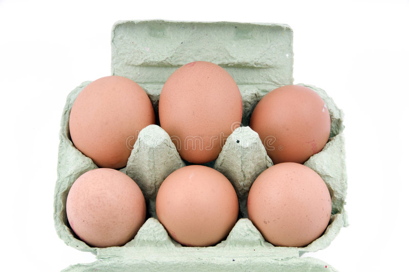 Half dozen eggs. In packaging isolate don white stock photography
