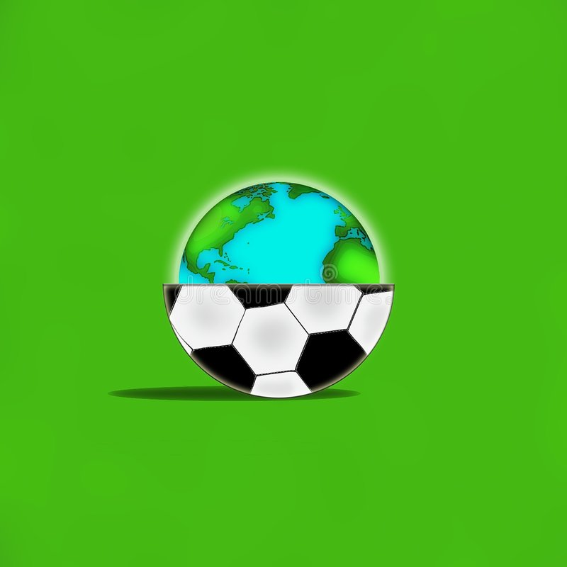Half Earth half Ball. The globe inside a football with green grass-like background stock illustration