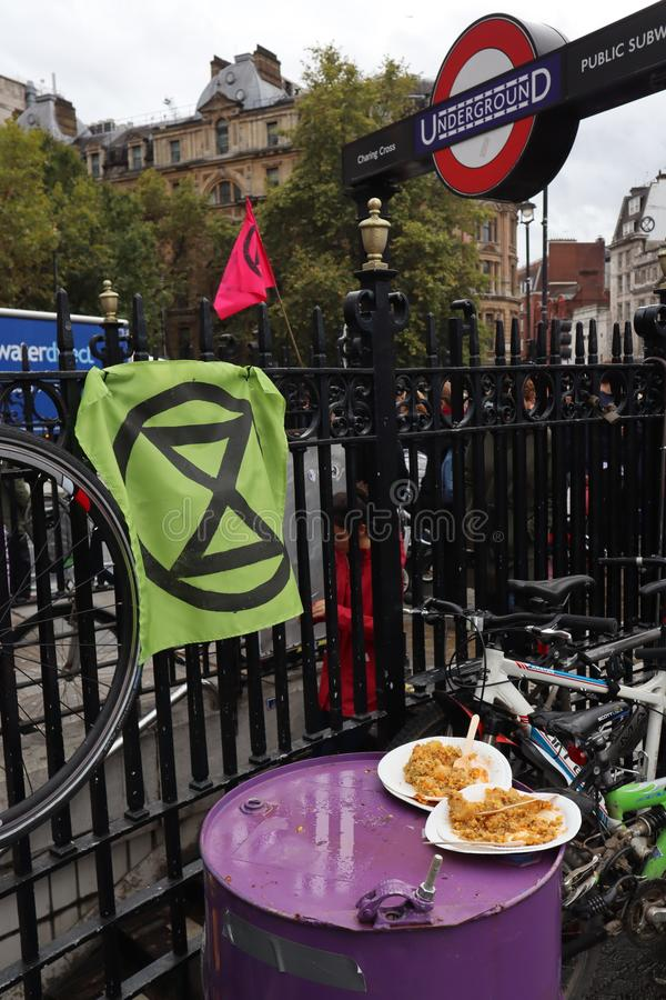 Half eaten lentils at Extinction Rebellion protest in Trafalgar Square stock photo