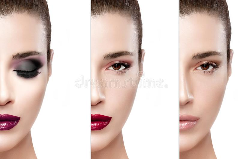 Beauty model girl showing the makeup process royalty free stock image
