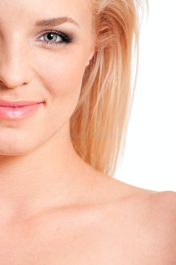 Half face blonde woman stock photos