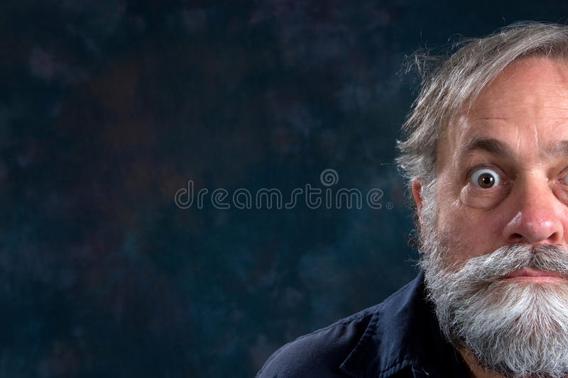 Half Face Bug Eyed. Half the face of a bug eyed mature man with beard royalty free stock photo
