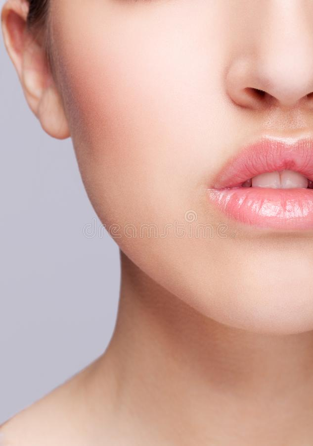 Half face female beauty portrait withrose color lips stock photo