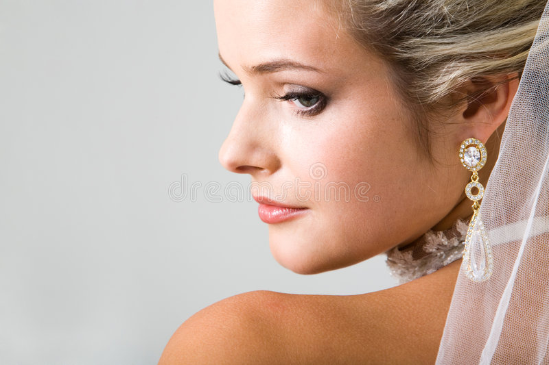 Half Face Of Fiancee Royalty Free Stock Image