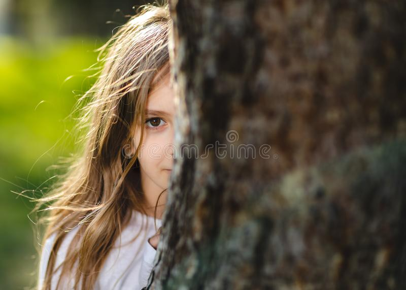 Young girl hiding behind the tree. Portrait of young girl behind the tree in park. Half face of girl behind tree. royalty free stock images