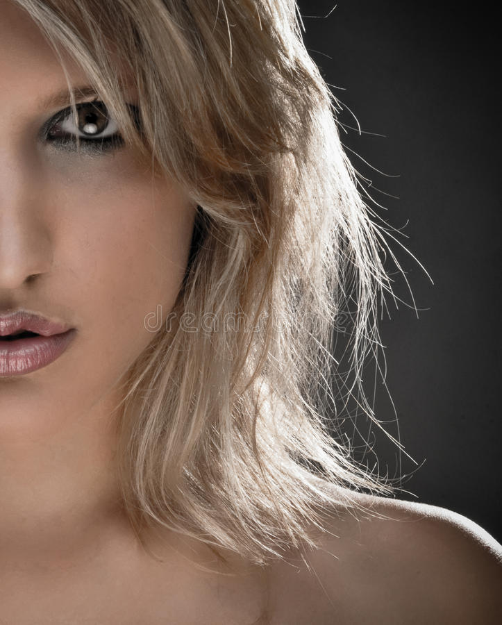 Download Half Face Portrait Of A Beautiful Blond Woman Stock Photos - Image: 9960283