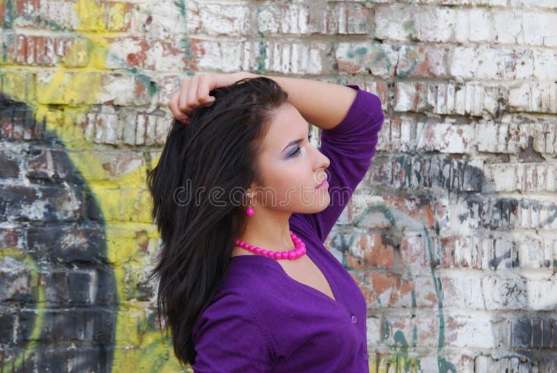 Download Half-face Portrait Of  Romantic Brunette Girl. Stock Image - Image: 13995161