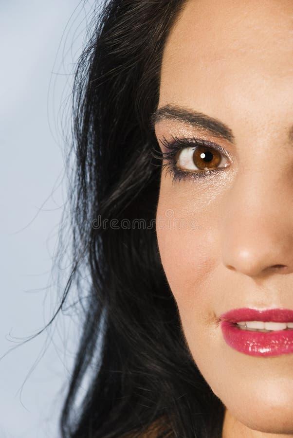 Download Half  Face Of Smiling  Brunette Woman Stock Image - Image: 10720533