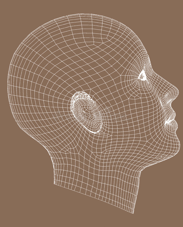 Half-face wireframe render young woman royalty free illustration