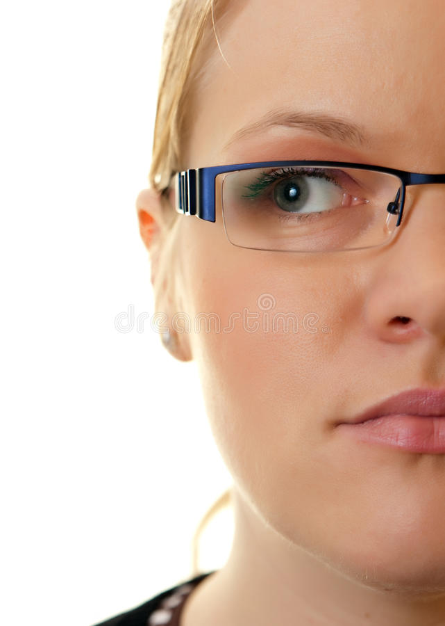 Download Half face woman stock photo. Image of spectacles, looking - 13672200