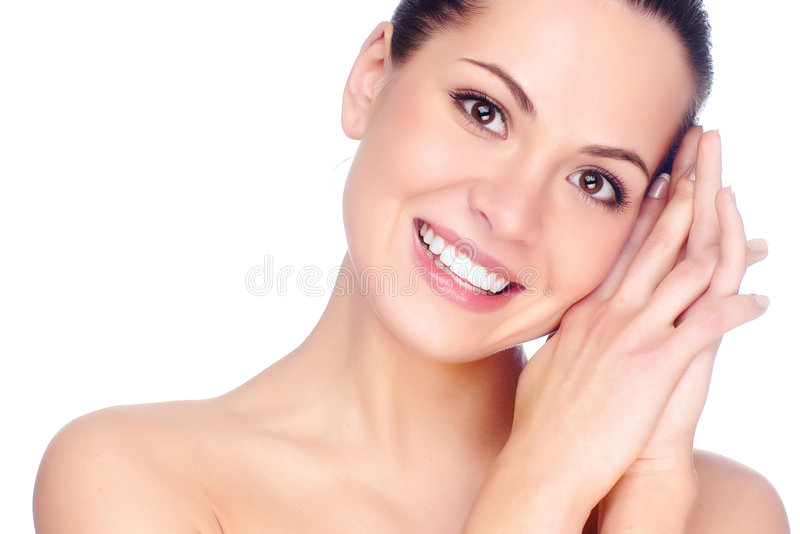 Half face of woman. royalty free stock photography