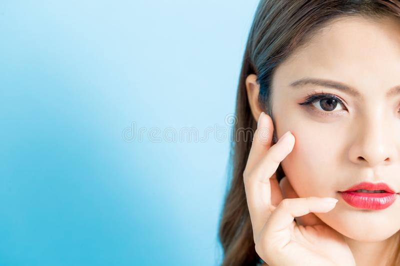 Half face of beauty woman royalty free stock images