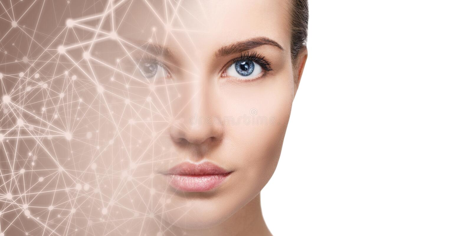 Half face of young woman disappearing in starry virtual space. stock photo