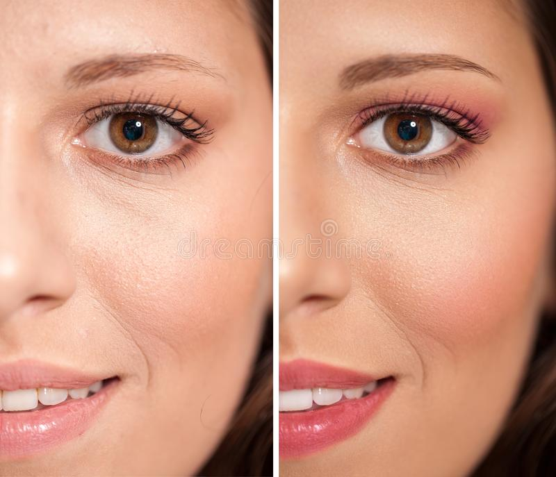 Half faced woman before and after professional make up royalty free stock photography