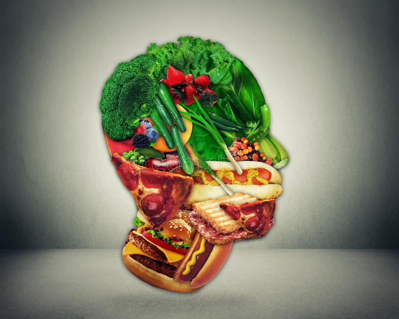 Half fast food and vegetables shaped face as a symbol of diet change from junk to a healthy raw vegetarian produce royalty free illustration