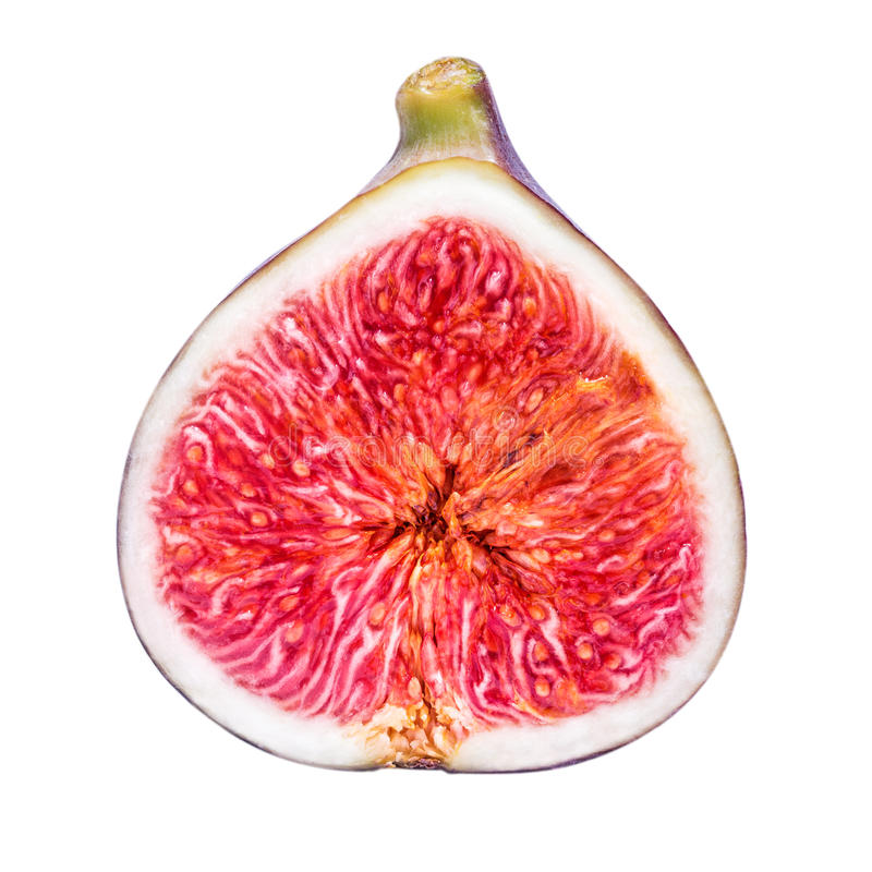 Half fig isolated on a white background. Clipping path royalty free stock photo