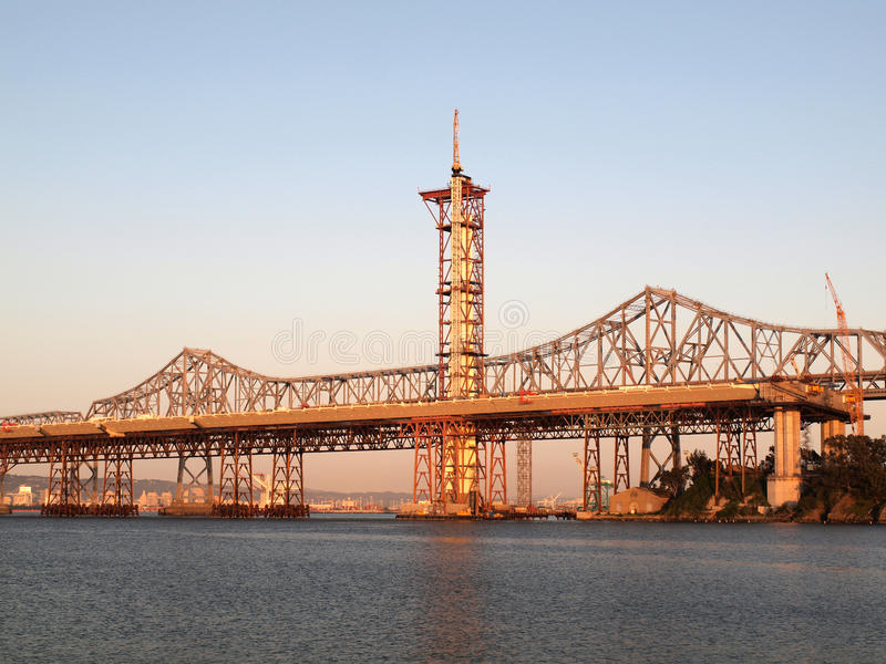 Download Half Finished New Bay Bridge Tower At Dusk Stock Image - Image: 22110391