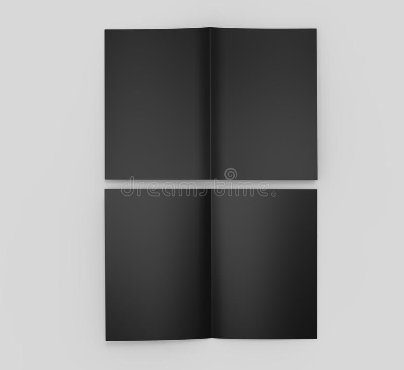 a3 half fold brochure blank black template for mock up and
