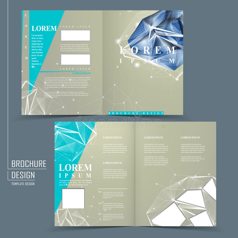Half Fold Brochure Template With Diamond Element Stock Vector
