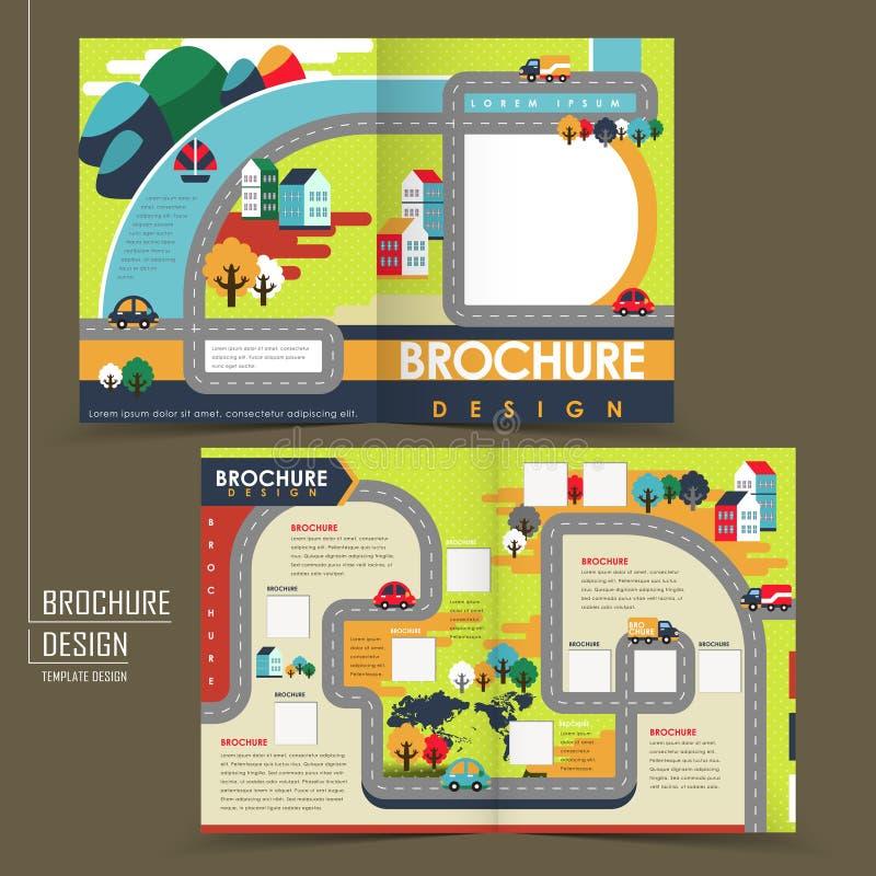 Half-fold template of flat design town brochure vector illustration