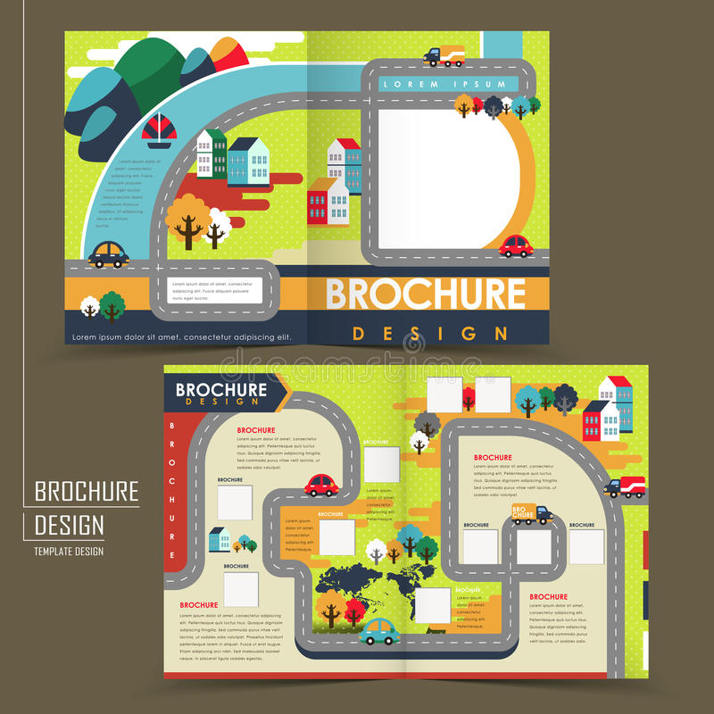 Free Half-fold Template Of Flat Design Town Brochure Royalty Free Stock Image - 43825166
