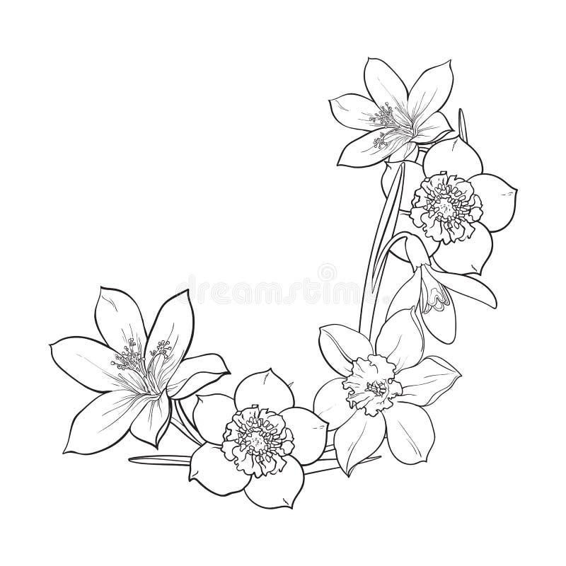 Half frame of spring flowers decoration element sketch vector download half frame of spring flowers decoration element sketch vector illustration stock vector mightylinksfo