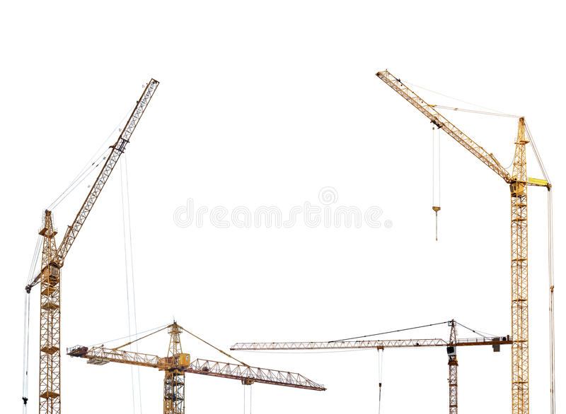 Half frame from yellow hoisting cranes isolate on white royalty free stock photography