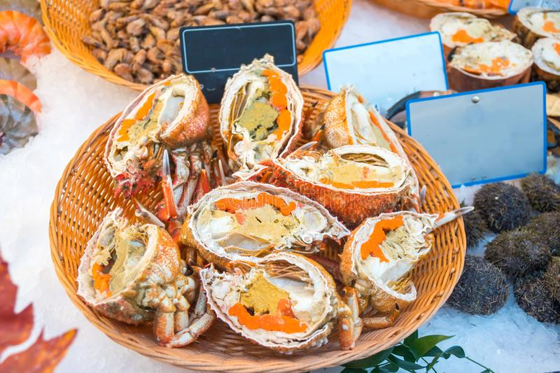 Half of fresh crab for sale in a fish market royalty free stock photography