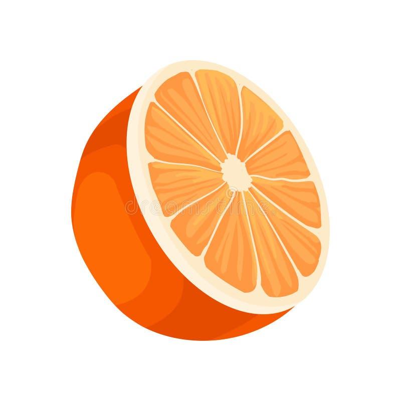 Half of fresh orange. Fresh citrus fruit. Healthy food. Decorative flat vector element for juice or candy packaging. Half of fresh orange. Fresh citrus fruit royalty free illustration